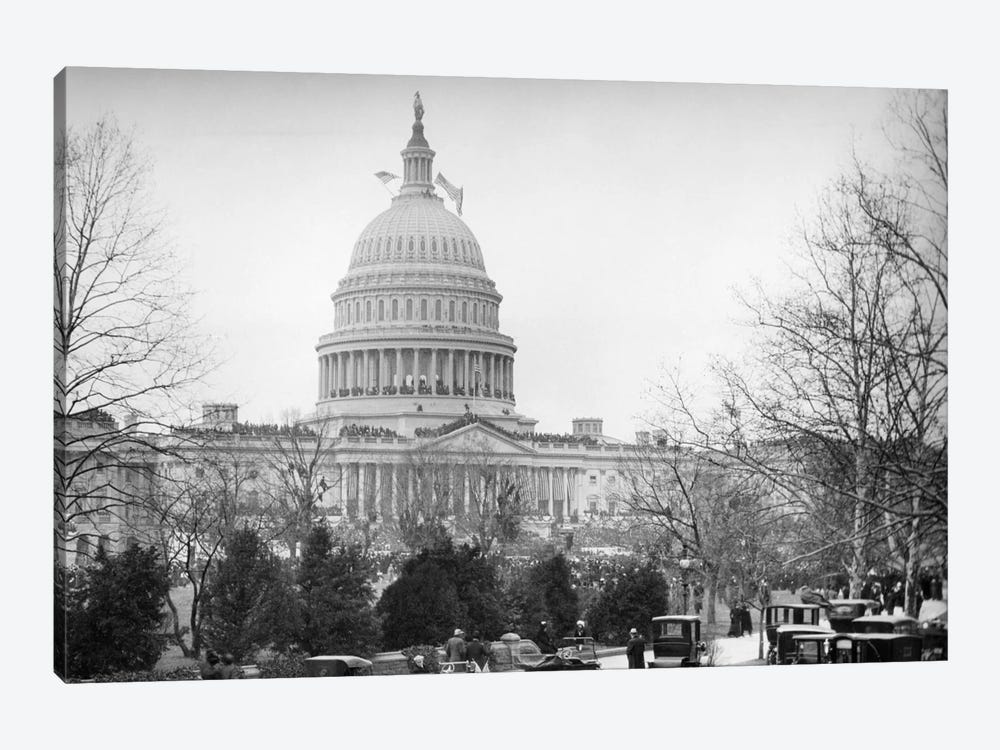 1910s-1920s Capitol Building Washington, D.C. Line Of Cars Parked On Street In Foreground by Vintage Images 1-piece Canvas Artwork