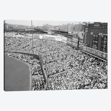 1940s-1950s Large Crowd Yankee Stadium Bronx NYC Bleachers Advertising Signs Around The Stadium New York City NY USA Canvas Print #VTG251} by Vintage Images Art Print