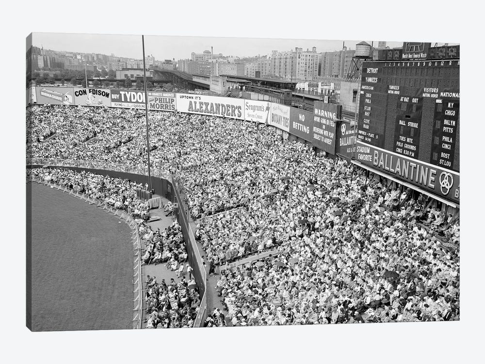 1940s-1950s Large Crowd Yankee Stadium Bronx NYC Bleachers Advertising Signs Around The Stadium New York City NY USA by Vintage Images 1-piece Art Print