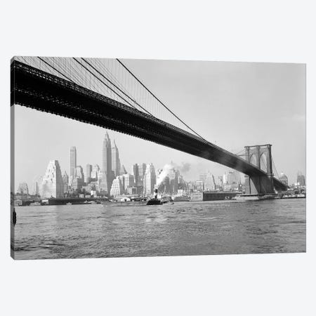 1940s-1950s Skyline Of Lower Manhattan With Brooklyn Bridge From Brooklyn Across The East River Canvas Print #VTG252} by Vintage Images Canvas Print