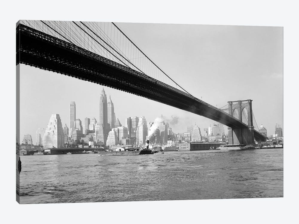1940s-1950s Skyline Of Lower Manhattan With Brooklyn Bridge From Brooklyn Across The East River by Vintage Images 1-piece Canvas Artwork