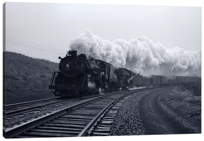 1940s-1950s Speeding Steam Locomotive Passenger Train Near Port Jervis New York USA Canvas Art Print
