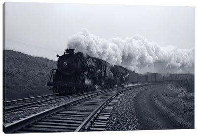 1940s-1950s Speeding Steam Locomotive Passenger Train Near Port Jervis New York USA Canvas Art Print