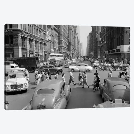 1940s-1950s Street Scene Crowds Traffic Intersection Fifth Avenue & 14th Street Manhattan NY New York City Canvas Print #VTG254} by Vintage Images Canvas Artwork