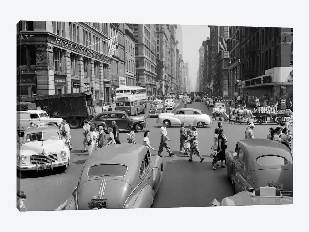 1940s-1950s Street Scene Crowds Traffic Intersection Fifth Avenue & 14th Street Manhattan NY New York City by Vintage Images 1-piece Canvas Artwork