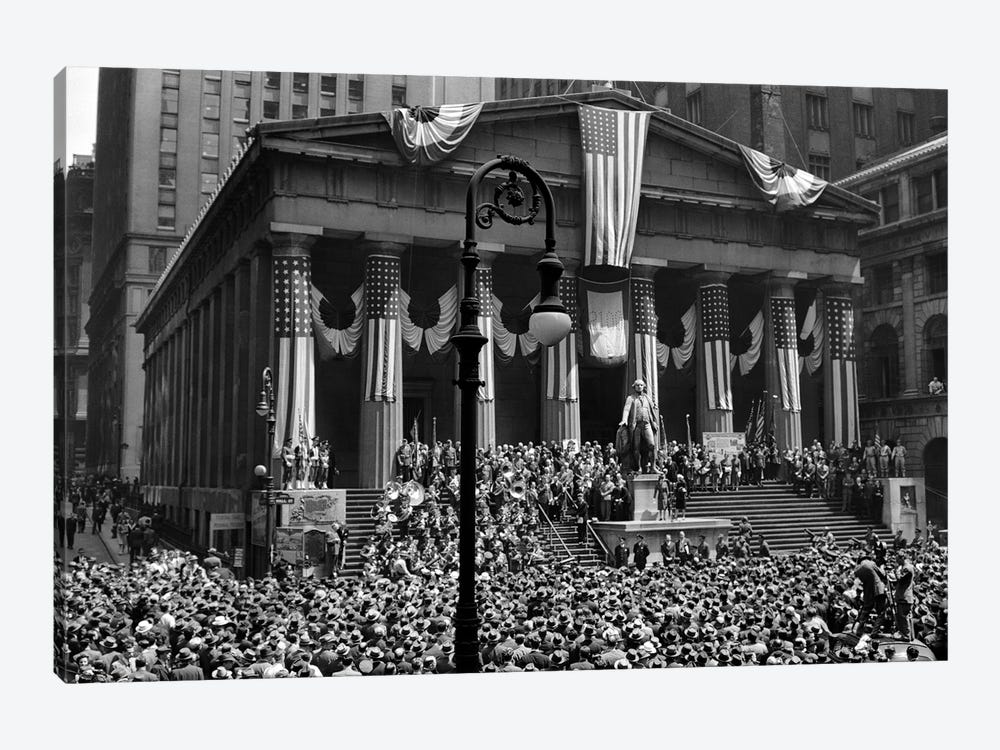 1942 WW II War Bond Rally Federal Treasury Building New York Stock Exchange Wall Street Manhattan New York City USA by Vintage Images 1-piece Canvas Print