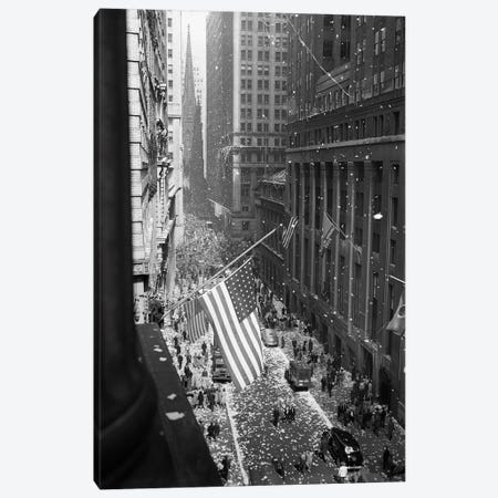 1945 Aerial View Of V-Day Celebration On Wall Street NYC With Flags And Confetti Flying Canvas Print #VTG256} by Vintage Images Canvas Wall Art