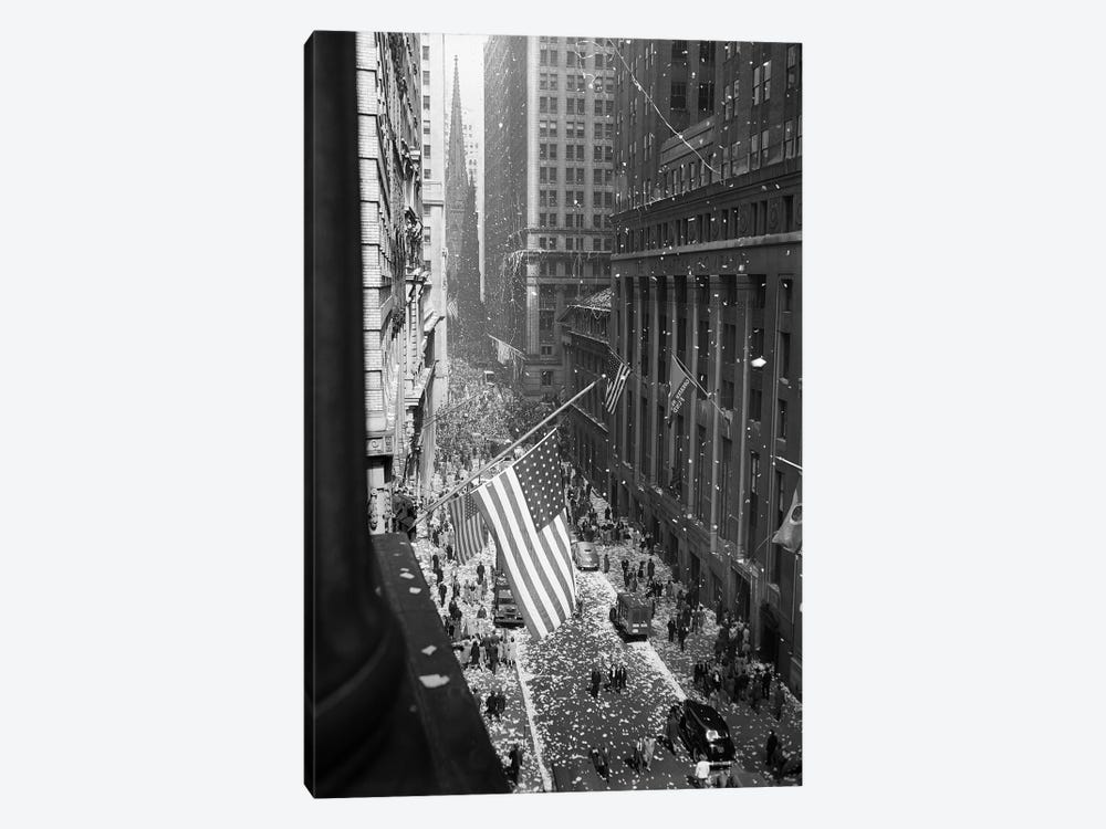 1945 Aerial View Of V-Day Celebration On Wall Street NYC With Flags And Confetti Flying by Vintage Images 1-piece Canvas Art