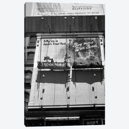 1945 New York City Sign Painters Corner 42nd Street Fifth Avenue Painting New War Bonds Sign From Scaffold Canvas Print #VTG257} by Vintage Images Canvas Wall Art