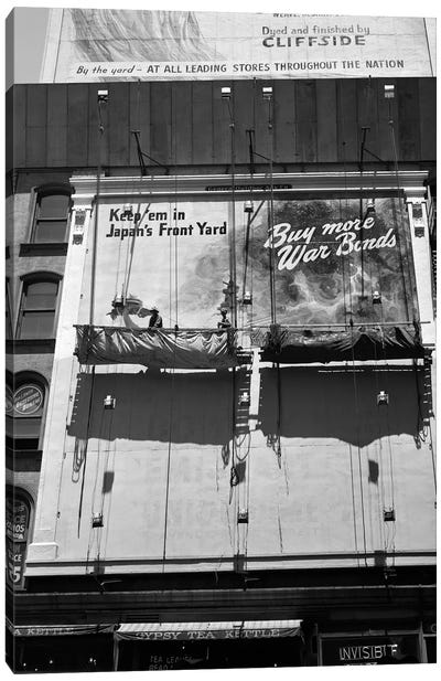 1945 New York City Sign Painters Corner 42nd Street Fifth Avenue Painting New War Bonds Sign From Scaffold Canvas Art Print