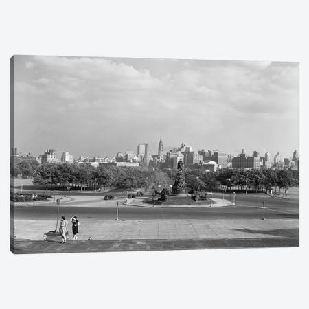 1946 Skyline Of Philadelphia From Steps Of The Art Museum Looking Down Parkway To City Hall Canvas Print #VTG258} by Vintage Images Art Print