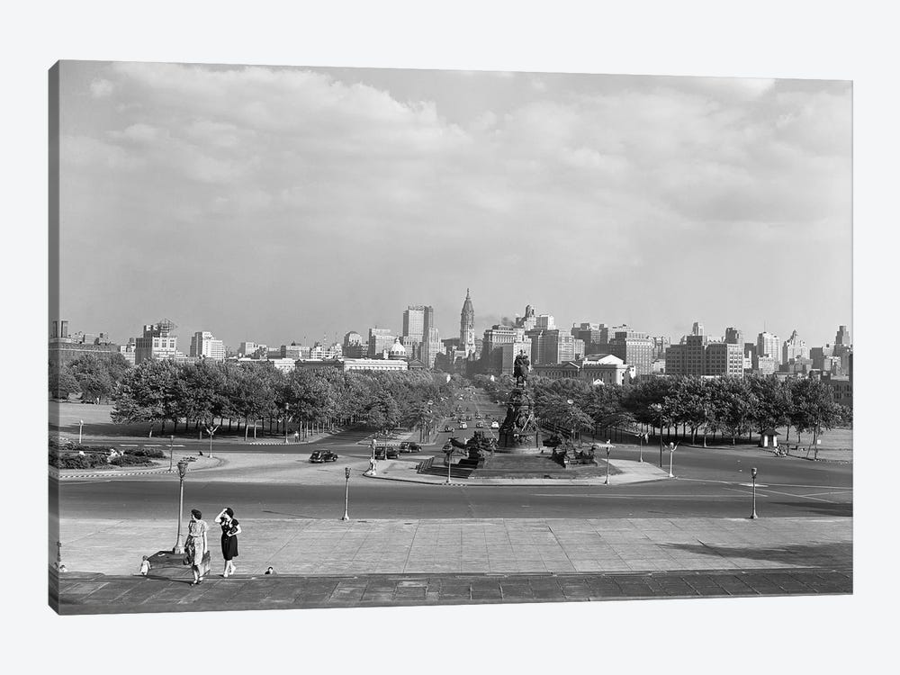 1946 Skyline Of Philadelphia From Steps Of The Art Museum Looking Down Parkway To City Hall by Vintage Images 1-piece Canvas Art