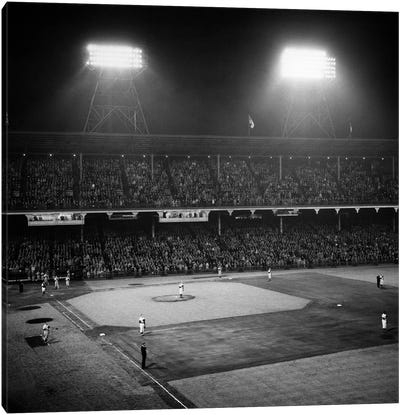1947 Baseball Night Game Under The Lights Players Standing For National Anthem Ebbets Field Brooklyn New York USA Canvas Art Print