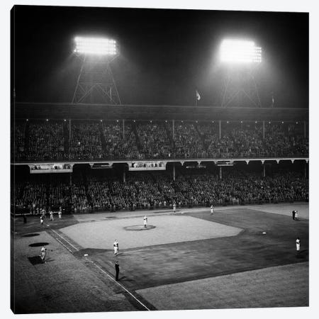 1947 Baseball Night Game Under The Lights Players Standing For National Anthem Ebbets Field Brooklyn New York USA Canvas Print #VTG259} by Vintage Images Canvas Art Print