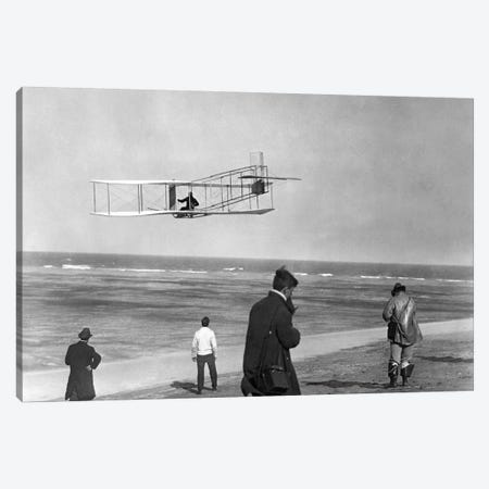 1911 One Of The Wright Brothers Flying A Glider And Spectators On Ocean Beach Kill Devil Hills Kitty Hawk North Carolina USA 3-Piece Canvas #VTG25} by Vintage Images Canvas Print
