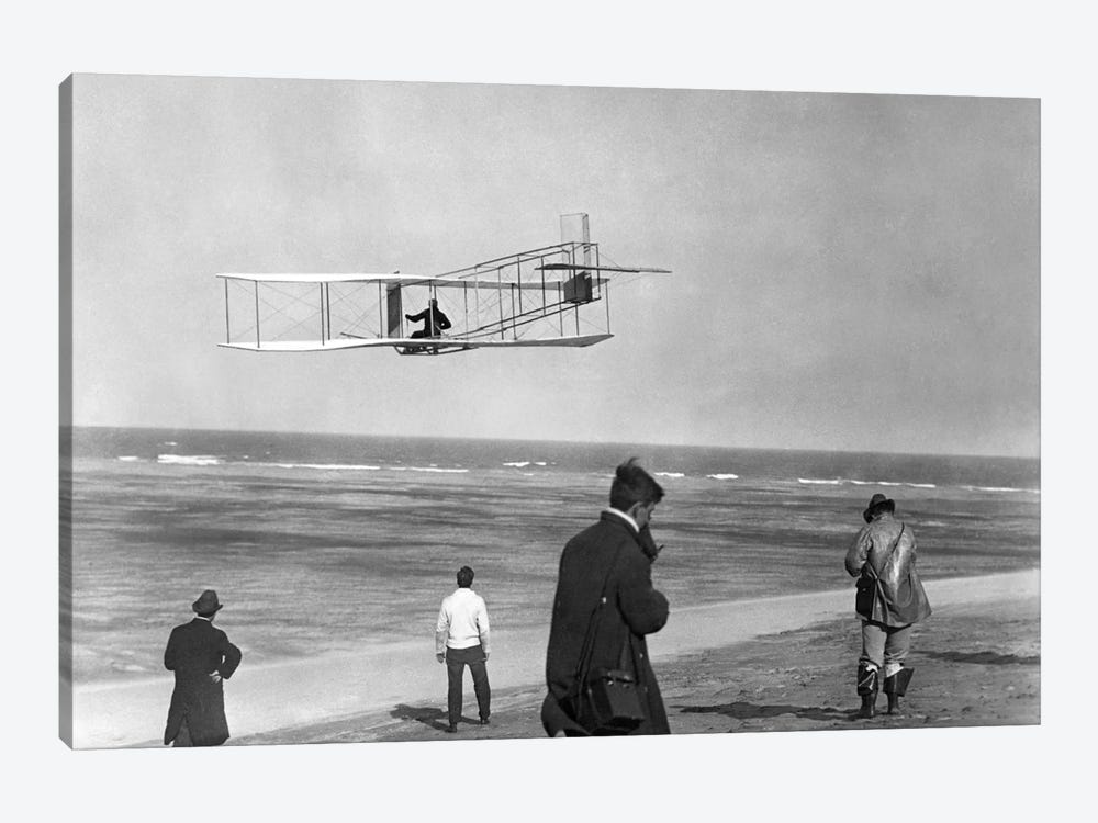 1911 One Of The Wright Brothers Flying A Glider And Spectators On Ocean Beach Kill Devil Hills Kitty Hawk North Carolina USA by Vintage Images 1-piece Art Print