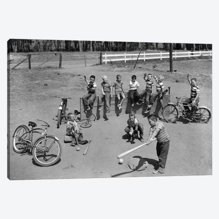 1950s 10 Neighborhood Boys Playing Sand Lot Baseball Most Wear Blue Jeans Tee Shirts Canvas Print #VTG260} by Vintage Images Canvas Art