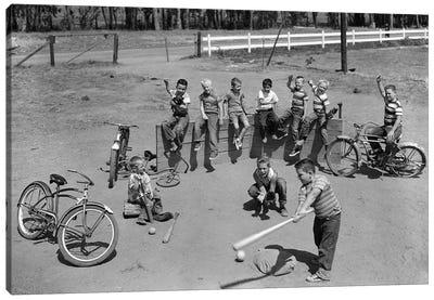 1950s 10 Neighborhood Boys Playing Sand Lot Baseball Most Wear Blue Jeans Tee Shirts Canvas Art Print