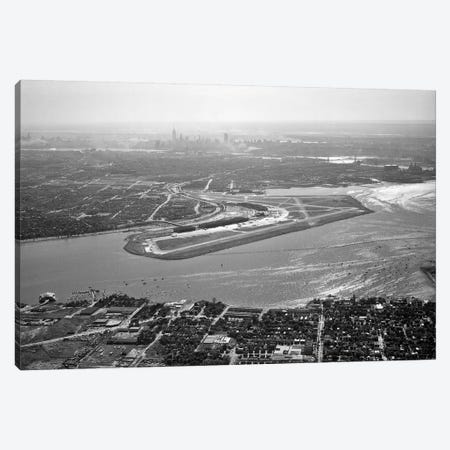 1950s Aerial Across Flushing Bay La Guardia Airport College Point Queens Manhattan Skyline In Distance Looking West Canvas Print #VTG261} by Vintage Images Canvas Art
