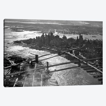 1950s Aerial Downtown Manhattan East And Hudson Rivers Meet In Harbor Brooklyn And Manhattan Bridges Canvas Print #VTG262} by Vintage Images Canvas Wall Art