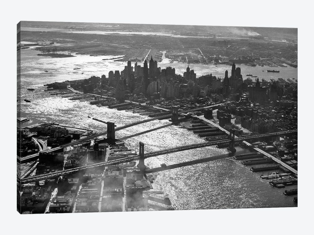 1950s Aerial Downtown Manhattan East And Hudson Rivers Meet In Harbor Brooklyn And Manhattan Bridges by Vintage Images 1-piece Canvas Art Print