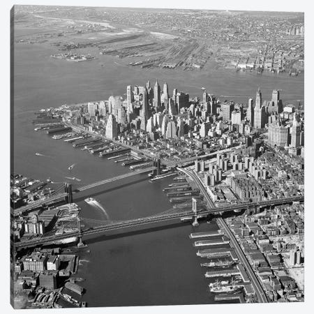 1950s Aerial Of Downtown Manhattan East And Hudson Rivers Meet In Harbor Brooklyn And Manhattan Bridges Canvas Print #VTG263} by Vintage Images Canvas Art