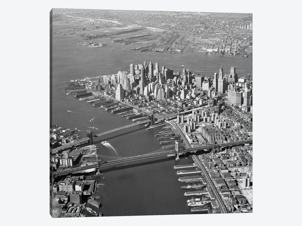 1950s Aerial Of Downtown Manhattan East And Hudson Rivers Meet In Harbor Brooklyn And Manhattan Bridges 1-piece Canvas Art