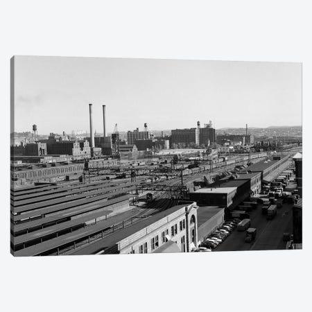 1950s Aerial Of Railroad Yard At Industrial Site Surrounded By Factories Canvas Print #VTG264} by Vintage Images Canvas Art Print