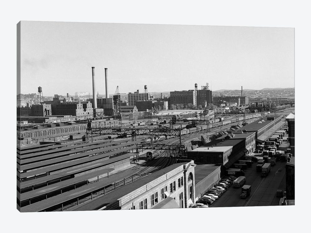1950s Aerial Of Railroad Yard At Industrial Site Surrounded By Factories 1-piece Art Print