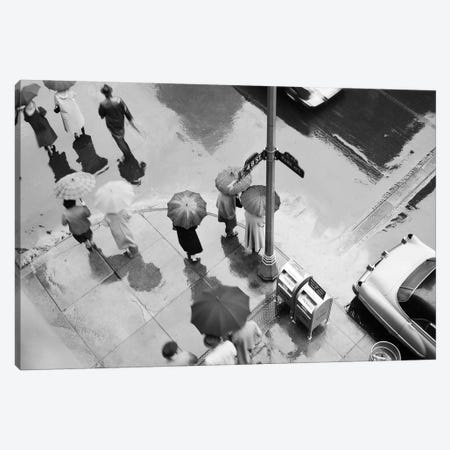1950s Aerial Of Street Corner In The Rain Pedestrians With Umbrellas Cars Wet Pavement Park Ave & 48th Street New York City USA Canvas Print #VTG265} by Vintage Images Canvas Art Print