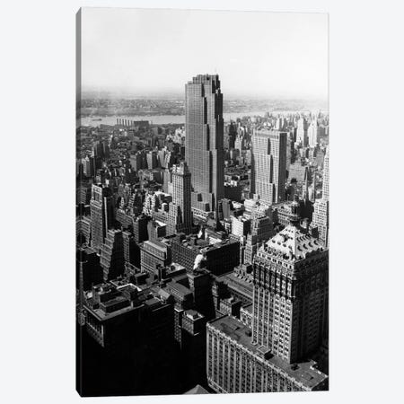 1950s Aerial View New York City Midtown Rockefeller Center Radio City In Middle Grand Central Station In Foreground Canvas Print #VTG266} by Vintage Images Art Print