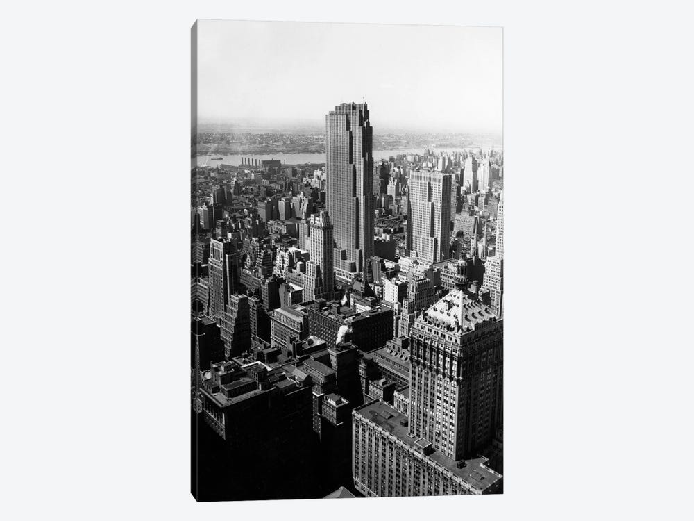 1950s Aerial View New York City Midtown Rockefeller Center Radio City In Middle Grand Central Station In Foreground by Vintage Images 1-piece Canvas Art Print