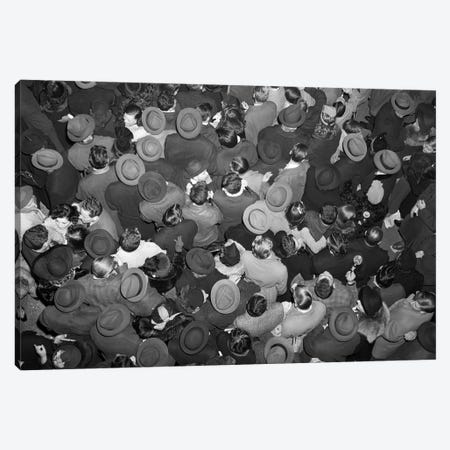 1950s Aerial View Of Crowd Of Men And Women In Times Square NYC Celebrating New Years Many Hats Outdoor Canvas Print #VTG268} by Vintage Images Canvas Artwork