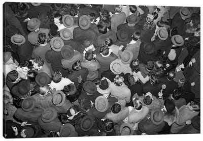 1950s Aerial View Of Crowd Of Men And Women In Times Square NYC Celebrating New Years Many Hats Outdoor Canvas Art Print