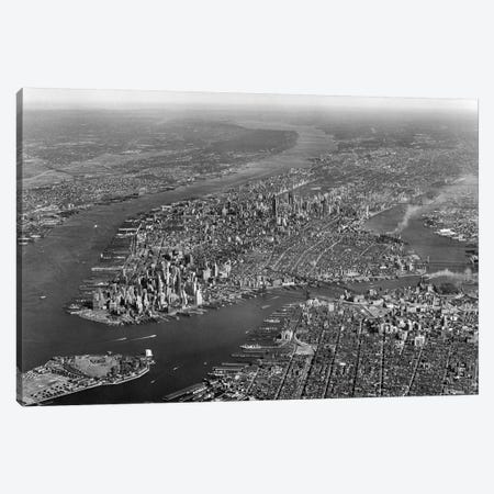 1950s Aerial View Of Manhattan Island On Left Is Hudson River On Right Is East River And Brooklyn Lower Left Is Governors Island Canvas Print #VTG269} by Vintage Images Canvas Artwork