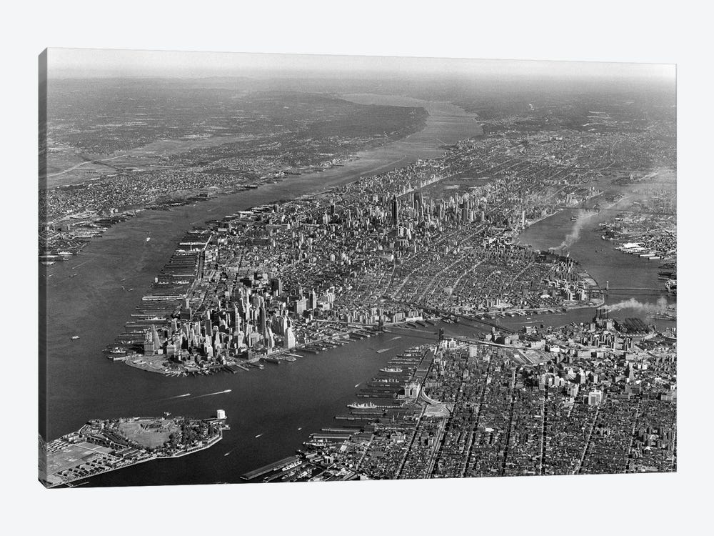 1950s Aerial View Of Manhattan Island On Left Is Hudson River On Right Is East River And Brooklyn Lower Left Is Governors Island by Vintage Images 1-piece Canvas Art