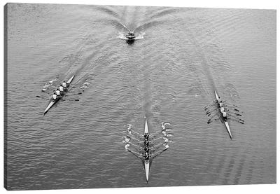1950s Aerial View Of Rowing Competition Canvas Art Print