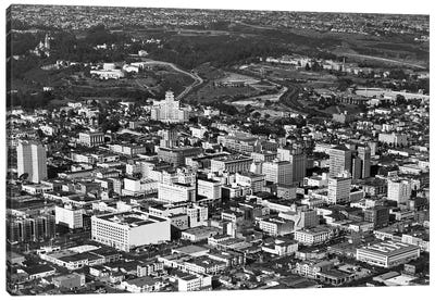 1950s Aerial View Showing El Cortez Hotel And Balboa Park Downtown San Diego, California USA Canvas Art Print