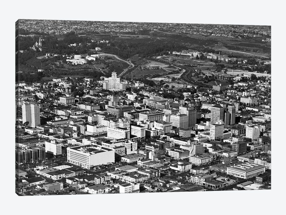 1950s Aerial View Showing El Cortez Hotel And Balboa Park Downtown San Diego, California USA by Vintage Images 1-piece Canvas Print