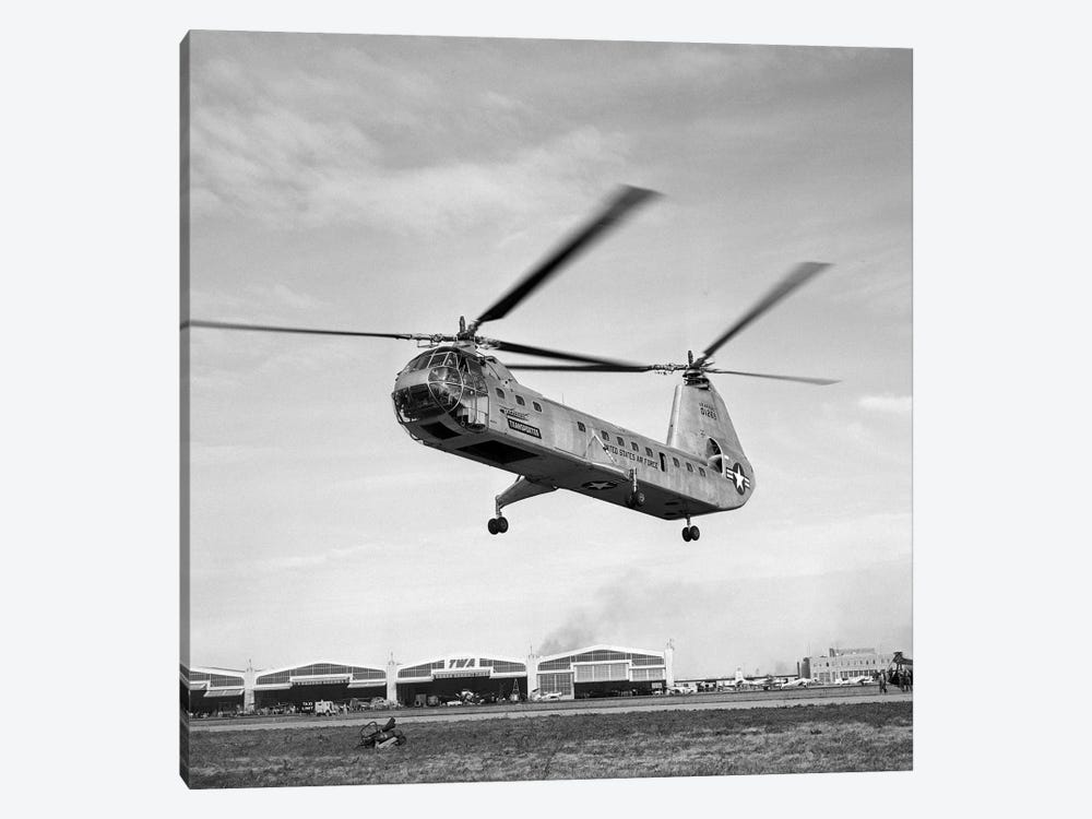 1950s Air Force Twin-Rotor Piasecki Helicopter Taking Off From Base by Vintage Images 1-piece Canvas Art