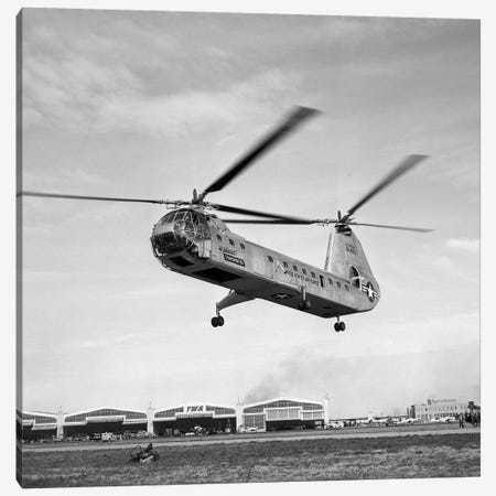 1950s Air Force Twin-Rotor Piasecki Helicopter Taking Off From Base Canvas Print #VTG272} by Vintage Images Art Print