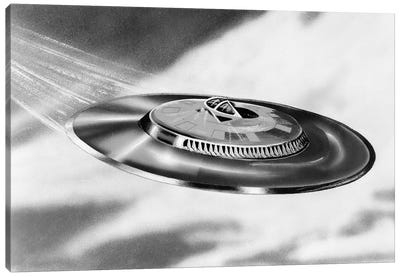 1950s Artist's Conception Of Flying Saucer Canvas Art Print