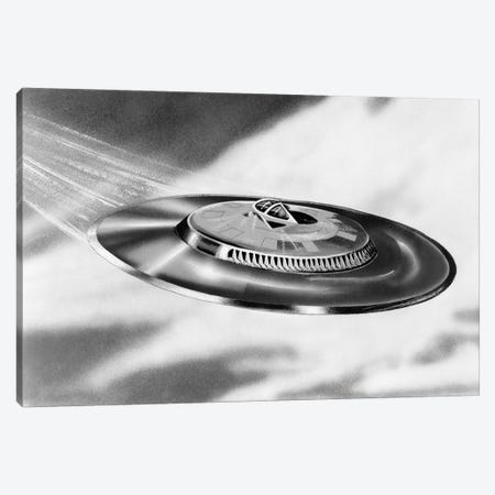 1950s Artist's Conception Of Flying Saucer Canvas Print #VTG273} by Vintage Images Canvas Print