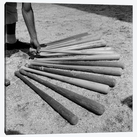 1950s Baseball Player Selecting From A Variety Of Bats Canvas Print #VTG275} by Vintage Images Canvas Art