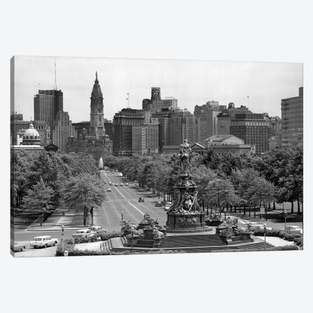 1950s Benjamin Franklin Parkway Looking Southwest From Art Museum Past Eakins To Logan Circle To City Hall Philadelphia Pa USA Canvas Print #VTG276} by Vintage Images Canvas Wall Art
