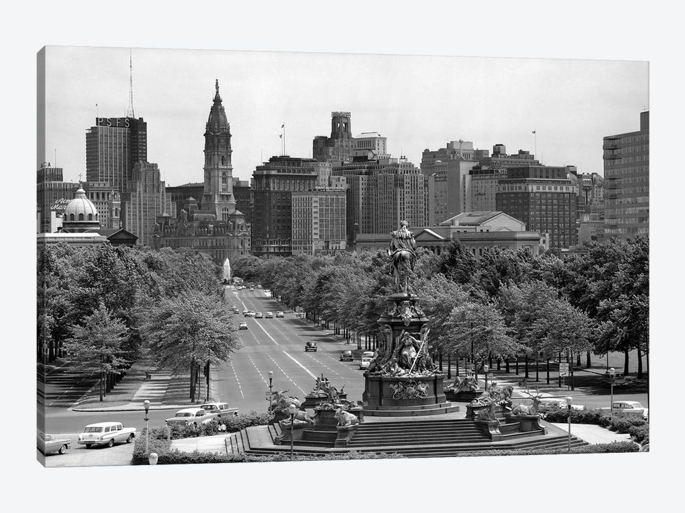 1950s Benjamin Franklin Parkway Looking Southwest From Art Museum Past Eakins To Logan Circle To City Hall Philadelphia Pa USA by Vintage Images 1-piece Canvas Wall Art