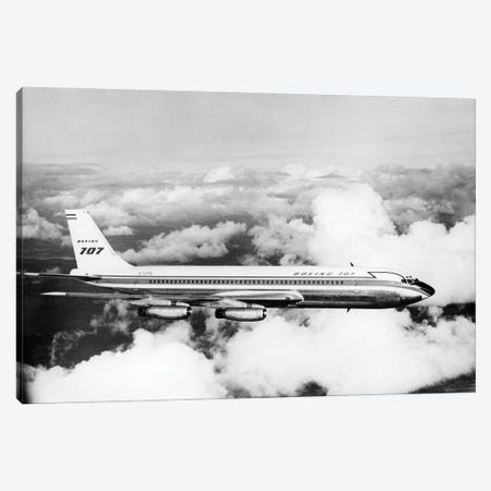 1950s Boeing 707 Passenger Jet Flying Through Clouds Canvas Print #VTG277} by Vintage Images Canvas Artwork