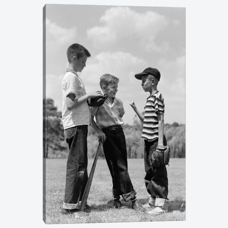 1950s Boys Baseball Threesome One Holding Bat Others Wearing Mitts Having Discussion Canvas Print #VTG278} by Vintage Images Art Print