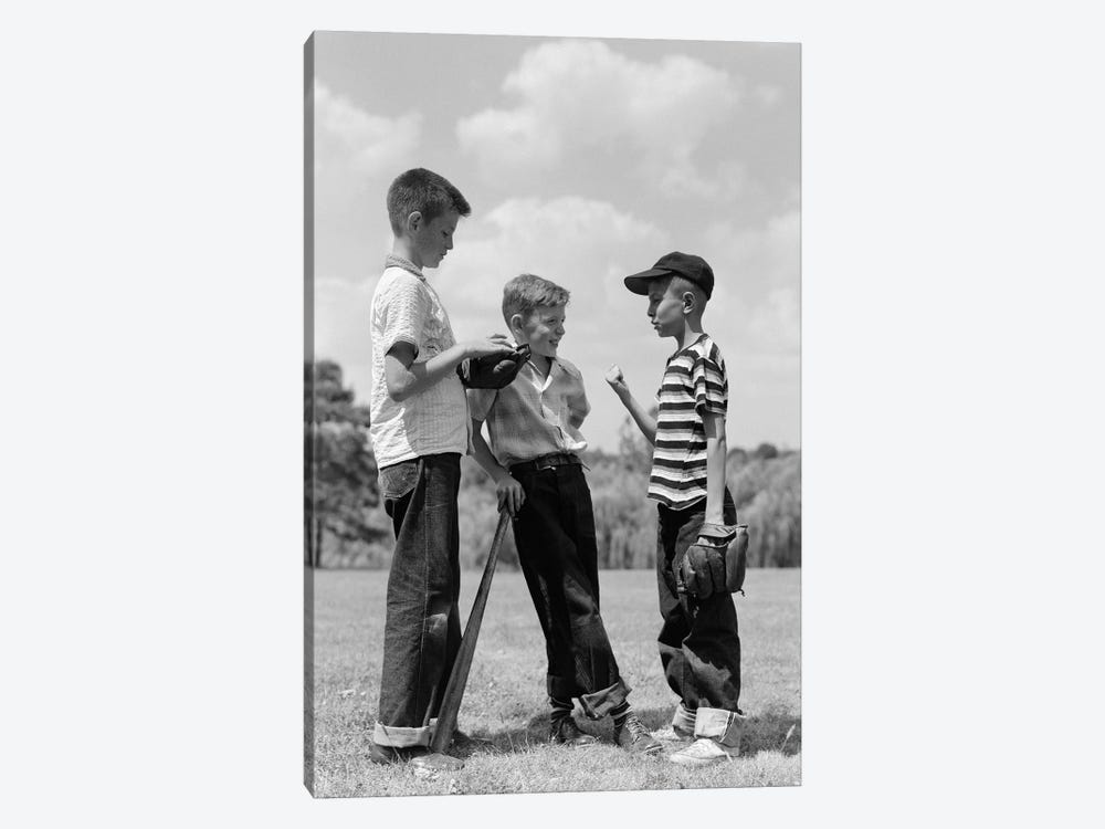 1950s Boys Baseball Threesome One Holding Bat Others Wearing Mitts Having Discussion by Vintage Images 1-piece Canvas Artwork