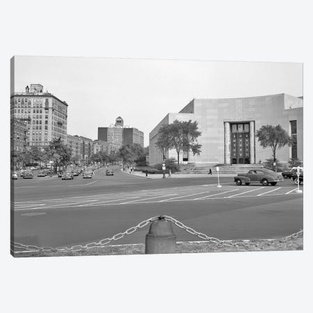 1950s Brooklyn Public Library Borough NYC As Seen From The Grand Army Plaza Looking To Eastern Parkway Canvas Print #VTG279} by Vintage Images Art Print